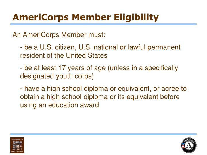 AmeriCorps Member Eligibility