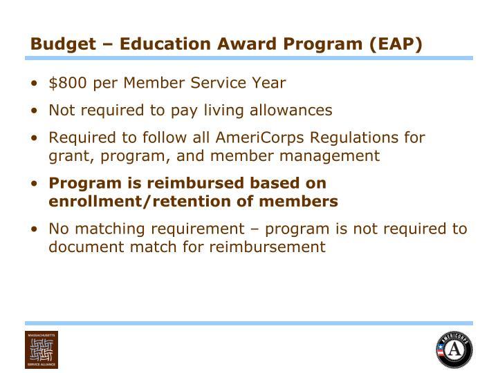 Budget – Education Award Program (EAP)