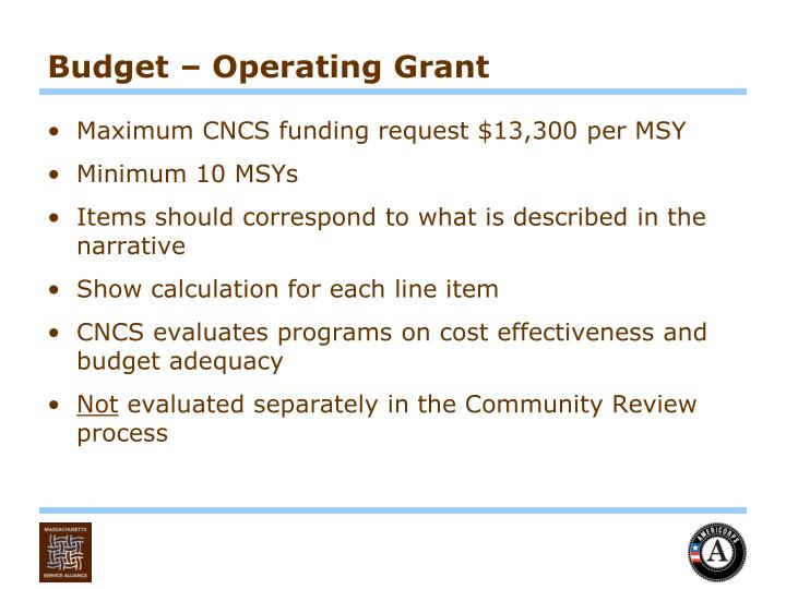 Budget – Operating Grant