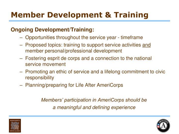 Member Development & Training