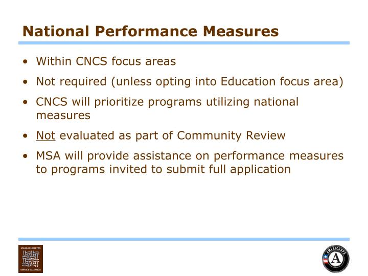 National Performance Measures
