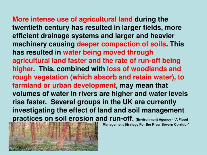 More intense use of agricultural land