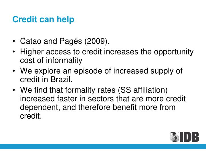 Credit can help