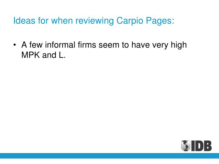 Ideas for when reviewing Carpio Pages: