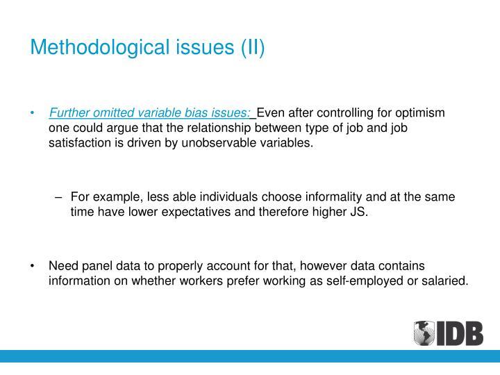 Methodological issues (II)