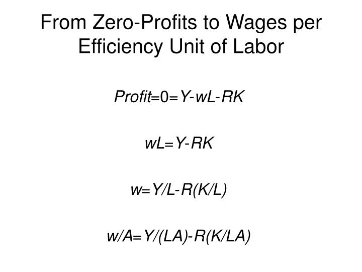 From Zero-Profits to Wages per Efficiency Unit of Labor