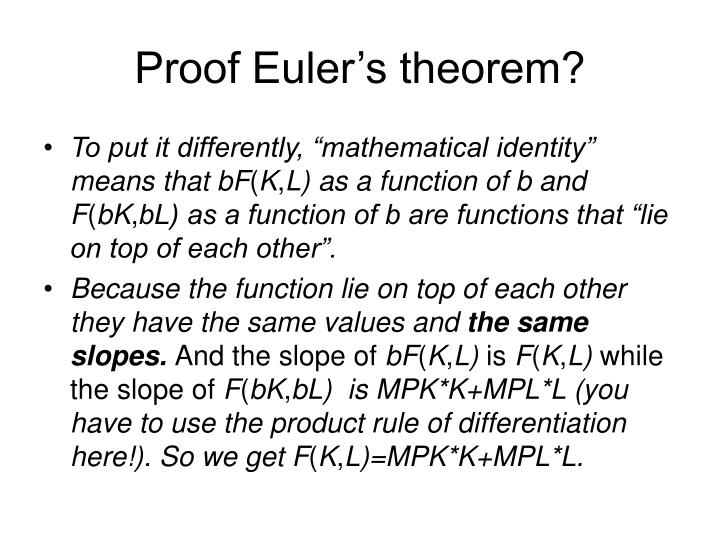 Proof Euler's theorem?