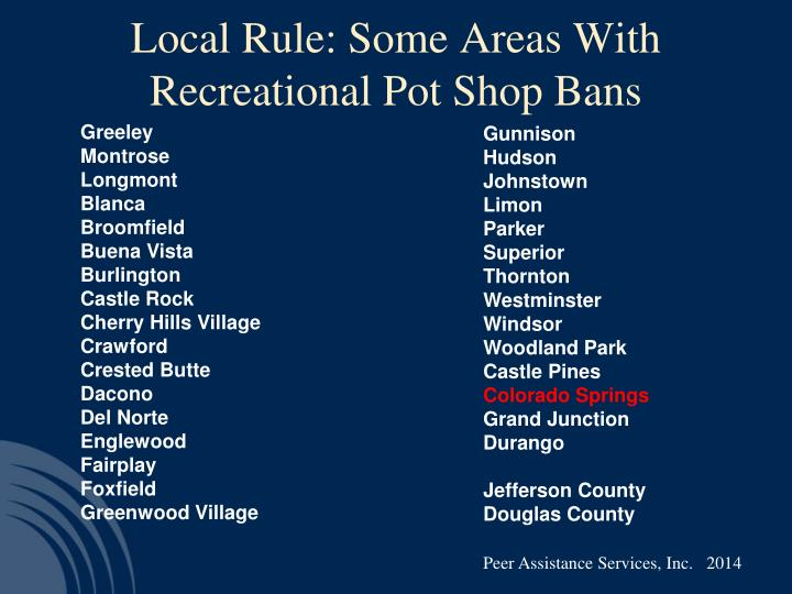 Local Rule: Some Areas With Recreational Pot Shop Bans