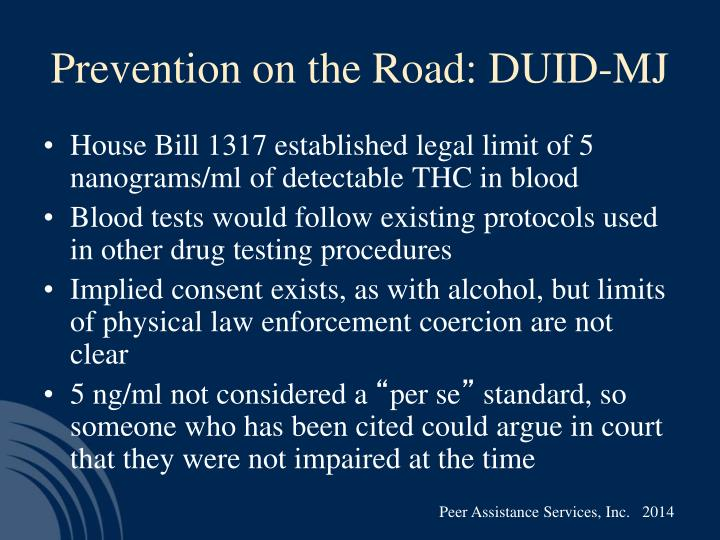 Prevention on the Road: DUID