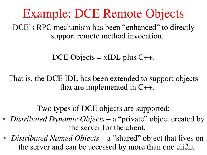 Example: DCE Remote Objects