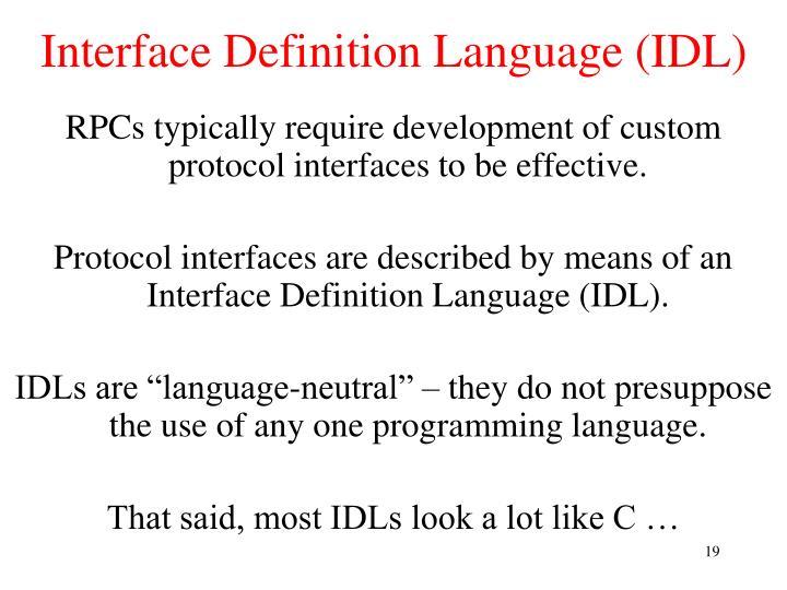 Interface Definition Language (IDL)