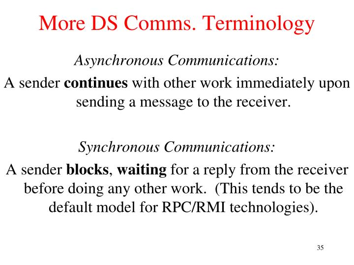 More DS Comms. Terminology