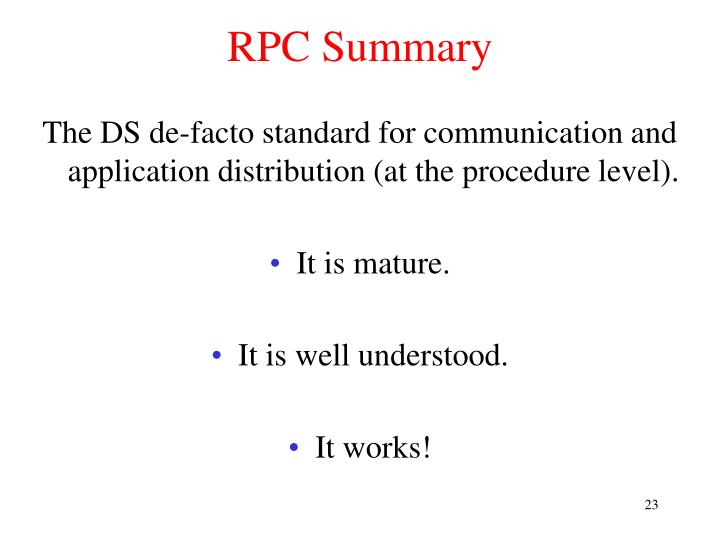 RPC Summary