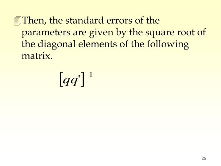 Then, the standard errors of the parameters are given by the square root of the diagonal elements of the following matrix.