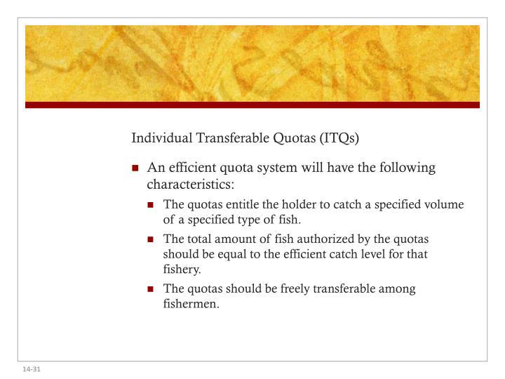 Individual Transferable Quotas (ITQs)