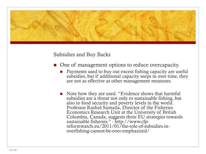 Subsidies and Buy Backs