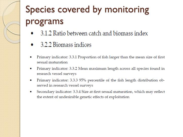 Species covered by monitoring programs