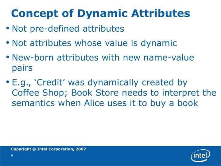 Concept of Dynamic Attributes