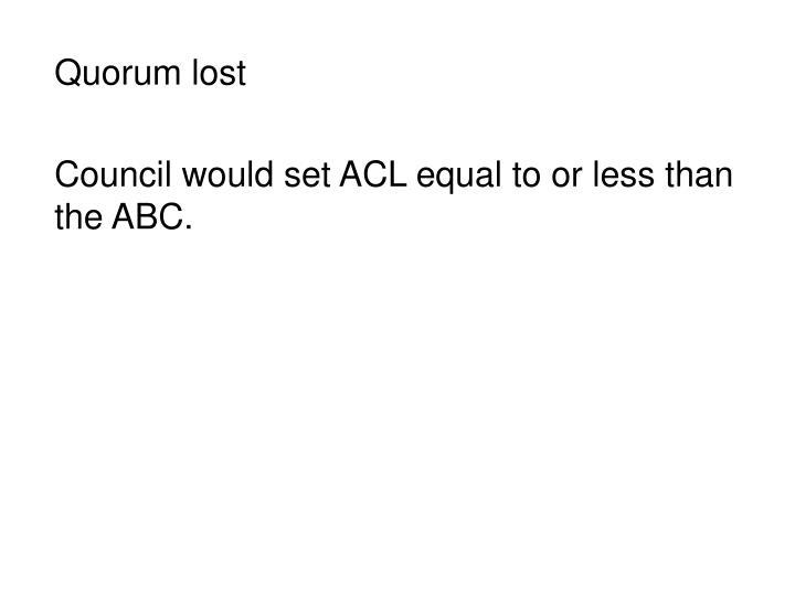 Quorum lost