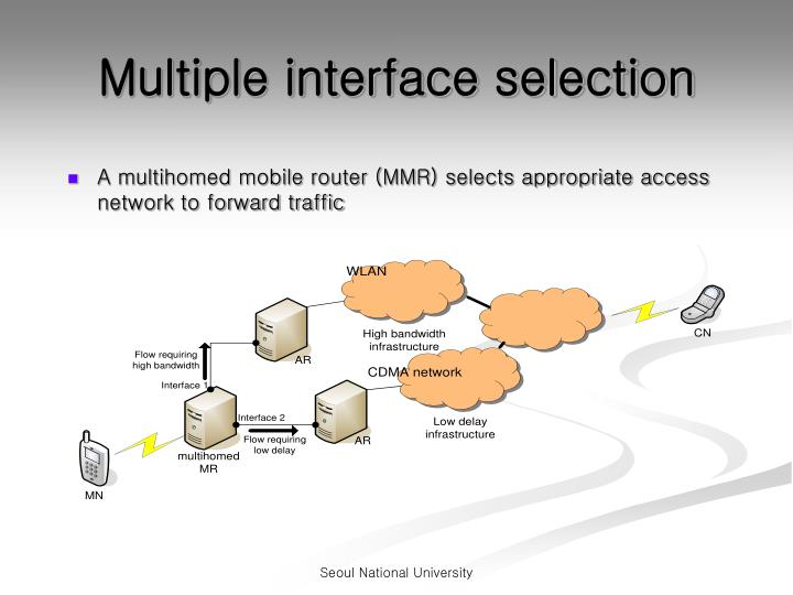 Multiple interface selection