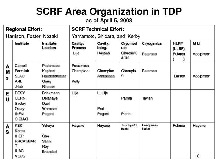 SCRF Area Organization in TDP