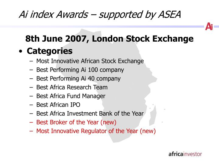 Ai index Awards – supported by ASEA