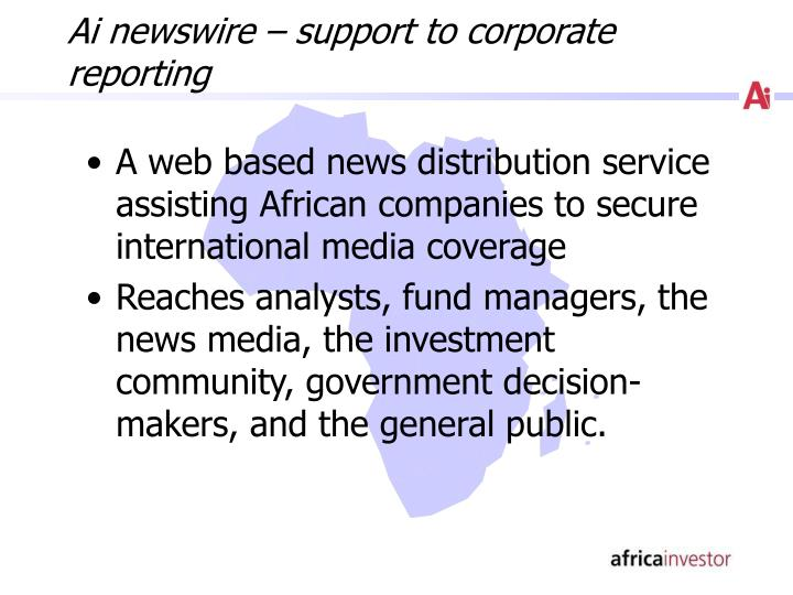 Ai newswire – support to corporate reporting