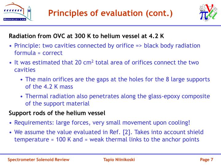 Principles of evaluation (cont.)