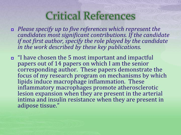 Critical References