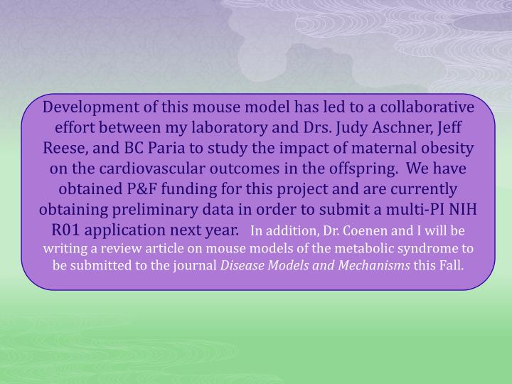 Development of this mouse model has led to a collaborative effort between my laboratory and Drs. Judy Aschner, Jeff Reese, and BC Paria to study the impact of maternal obesity on the cardiovascular outcomes in the offspring.  We have obtained P&F funding for this project and are currently obtaining preliminary data in order to submit a multi-PI NIH R01 application next year.