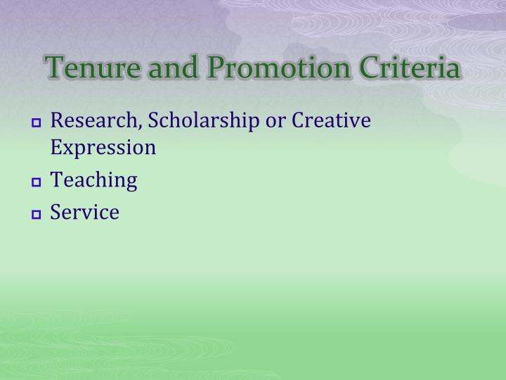 Tenure and Promotion Criteria