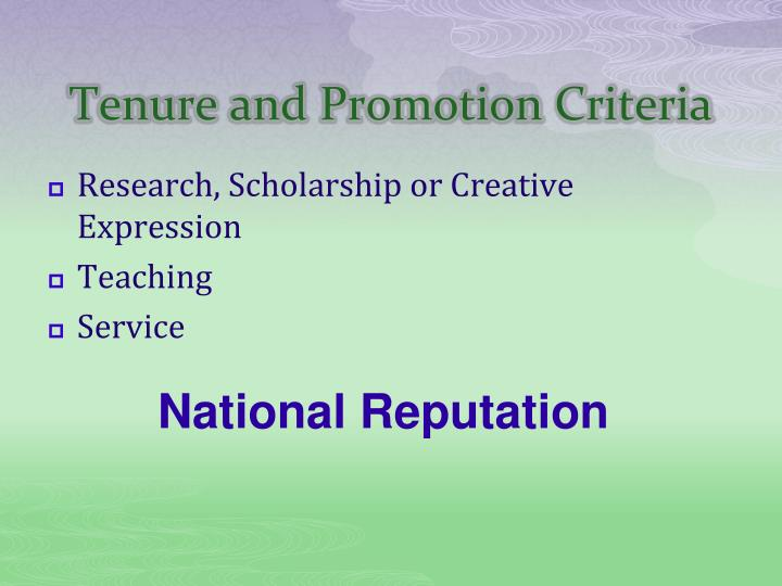 Tenure and promotion criteria1