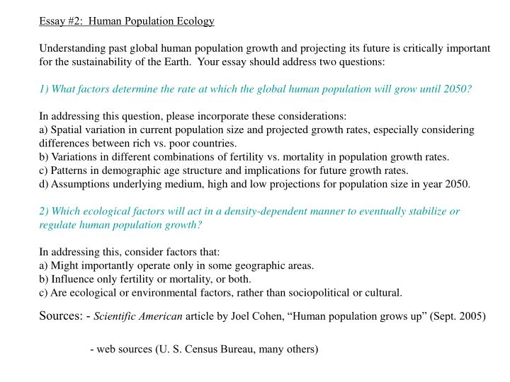 Essay #2:  Human Population Ecology
