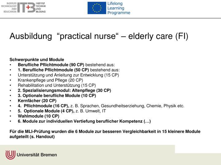 "Ausbildung  ""practical nurse"" – elderly care (FI)"