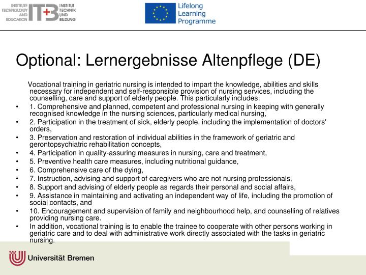 Optional: Lernergebnisse Altenpflege (DE)