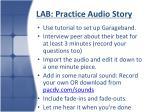 lab practice audio story