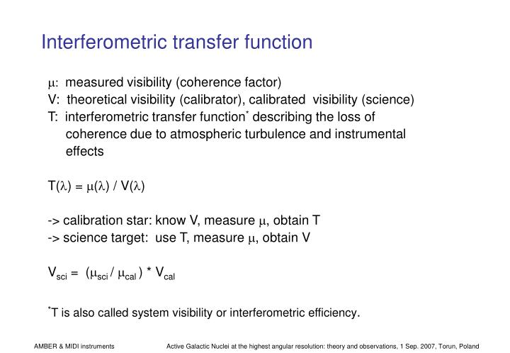 Interferometric transfer function