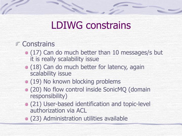 LDIWG constrains