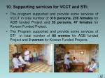 10 supporting services for vcct and sti