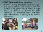 6 high risk group training workshop
