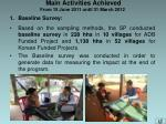 main activities achieved from 15 june 2011 until 31 march 2012