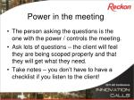 power in the meeting