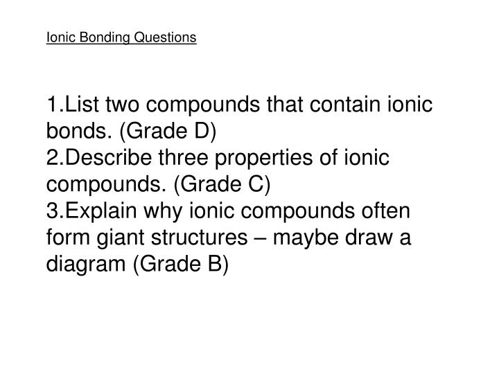 Ionic Bonding Questions