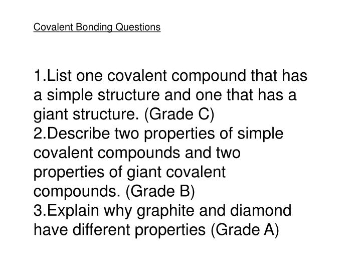 Covalent Bonding Questions