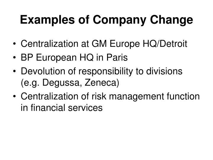 Examples of Company Change