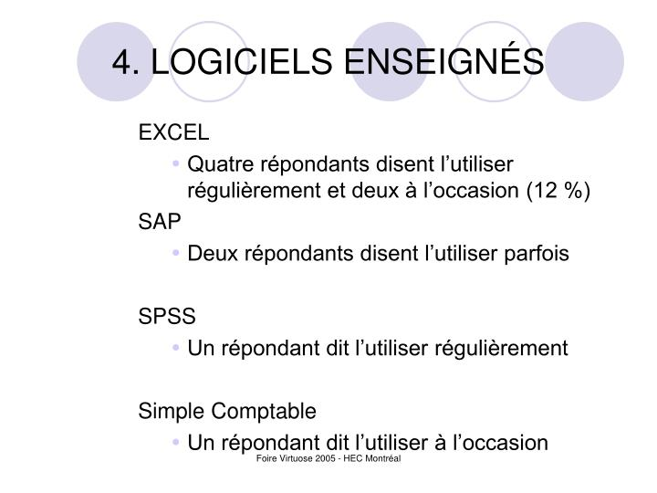 4. LOGICIELS ENSEIGNÉS