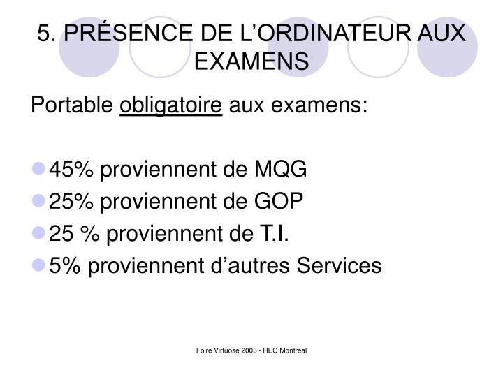 5. PRÉSENCE DE L'ORDINATEUR AUX EXAMENS