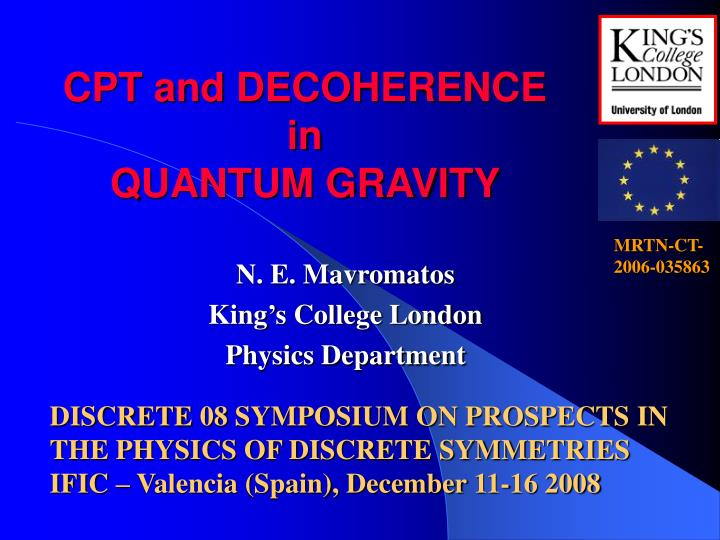 Cpt and decoherence in quantum gravity