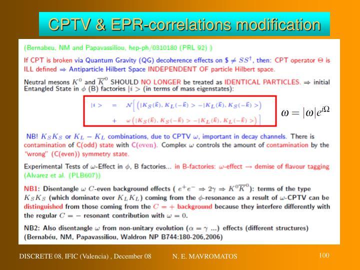 CPTV & EPR-correlations modification