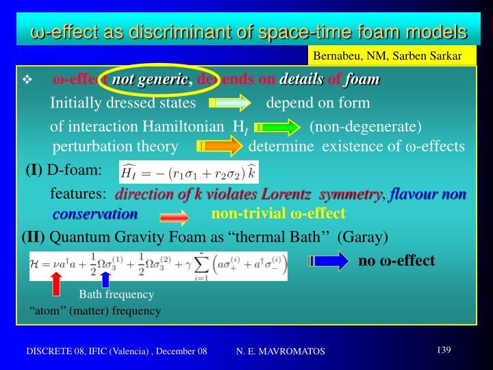 ω-effect as discriminant of space-time foam models